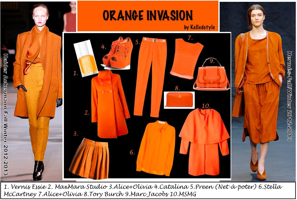 jupe, veste, manteau, chaussure, vernis et sac à main orange